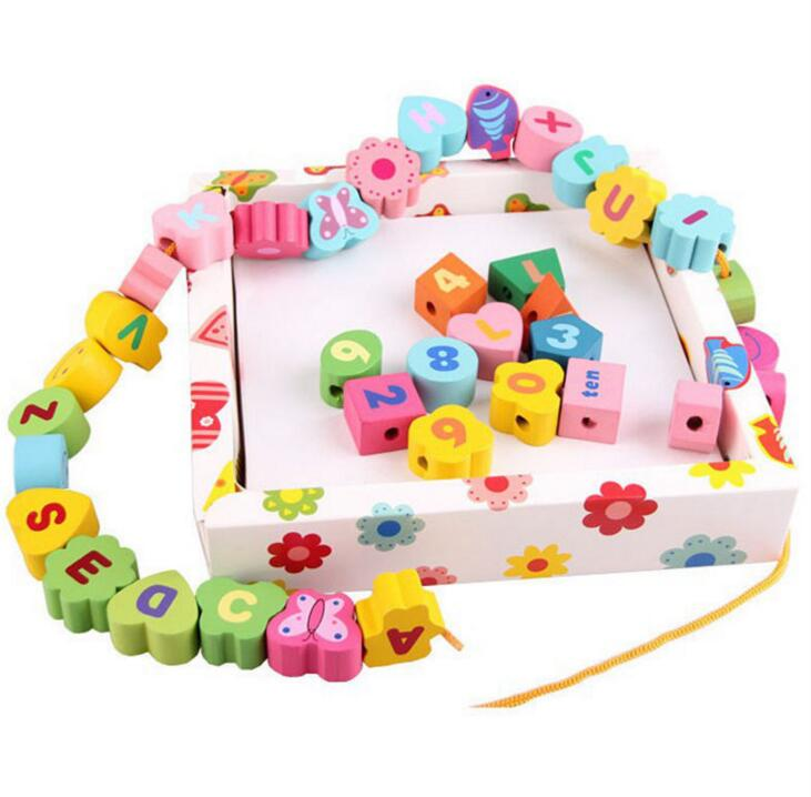 Threading Educational Toys Child Wooden Numbers Letters shapes Alphabets Beads Early Learning Animal Toy  -  happy baby... store