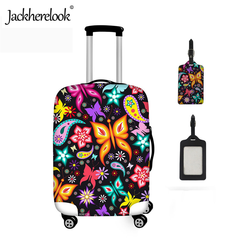 Jackherelook Cute Animal Butterfly Printed Luggage Protective Cover Travel Accessories Suitcase Tage Waterproof Dust Rain Cover
