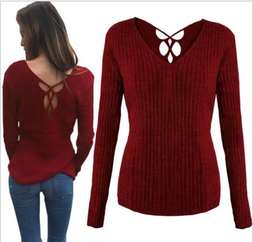 2017 Women V Neck Knitted Lace up Sweater Bandage Cross Ties Pullover Slim  Casual Knitwear Jumper Top Sweter Mujer-in Pullovers from Women s Clothing  on ... cb04f7a2a