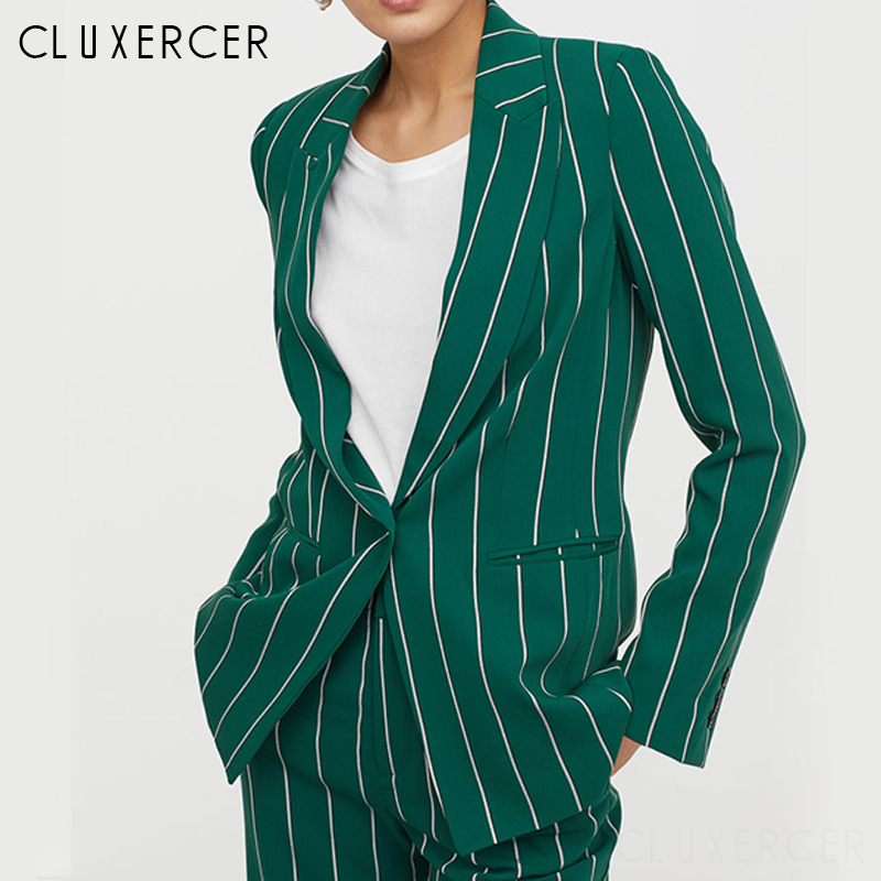Women Elegant Pant Suits 2 Piece Sets Striped Green Blazer And Jacket Vintage Striped  Wide Leg Pants Women Chic Outfit Suits