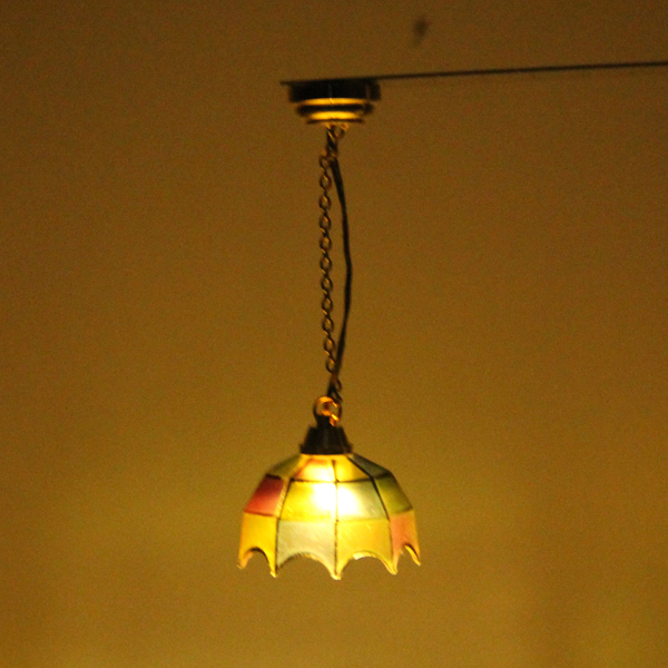 Excellent Workmanship Metal Ceiling Lamp Model With Umbrella Shape Light Cover For 1:12 Dollhouse Decoration