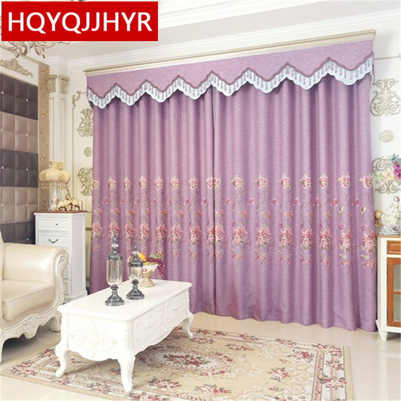 Buy purple european style embroidered - European style curtains for living room ...