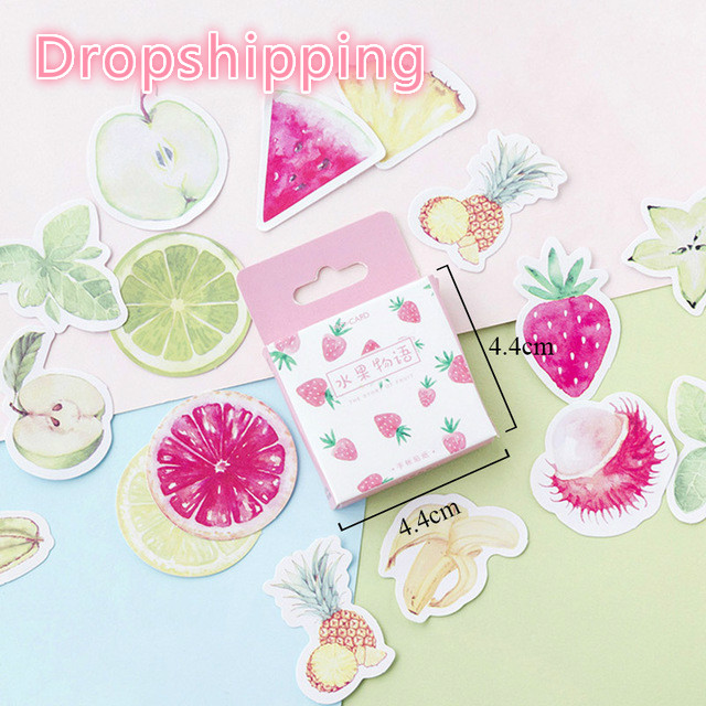 46Pcs/Box Fruits Stickers Strawberry Pineapple Decorative Adhesive Sticker For Kids DIY Photo Albums Decorations Scrapbooking