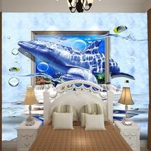 Large mural children's room wallpaper Dolphin 3D cartoon wallpaper waterproof self-adhesive wallpaper kid's bedroom wall decor цена 2017