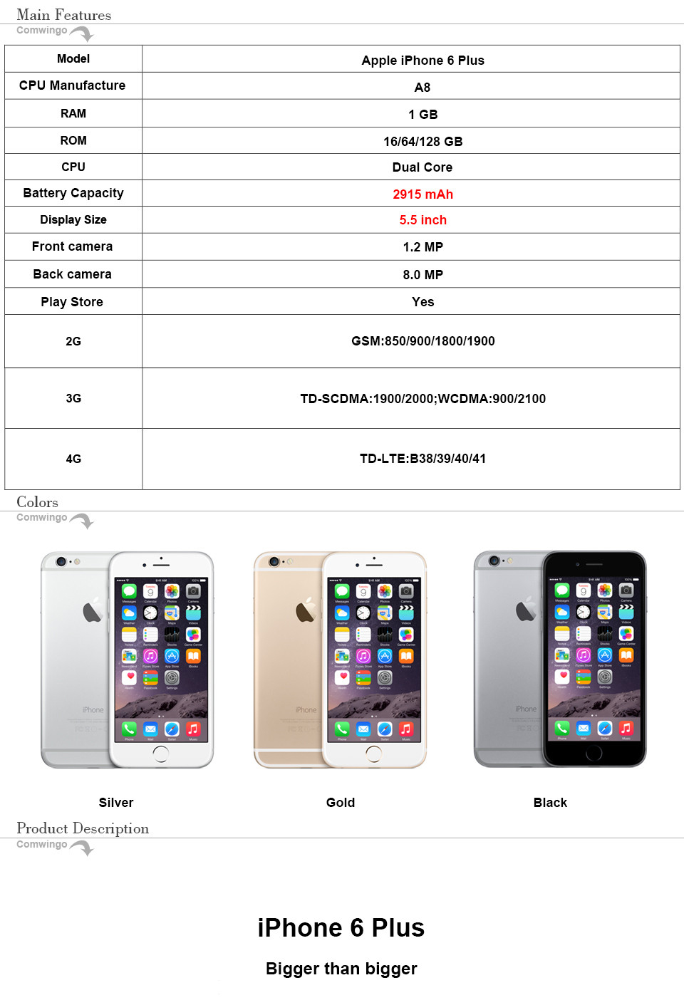 Apple iPhone 6 Plus with 1 GB RAM and 16/64/128 GB ROM