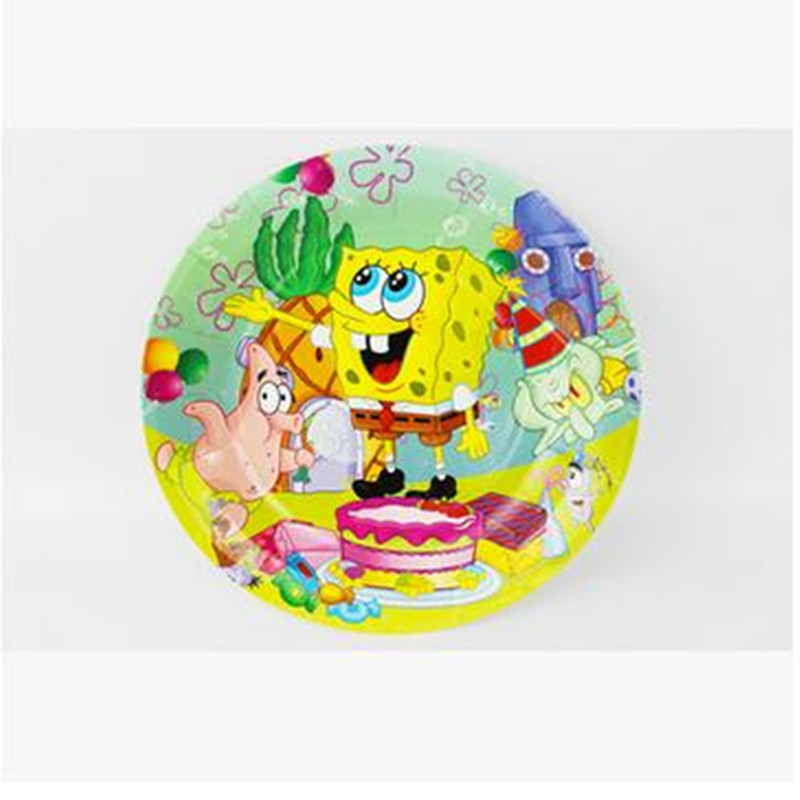 12pcs 7inch spongebob squarepants disposable paper plates birthday party supplies cake accessory birthday party decorations kids - Decorative Paper Plates
