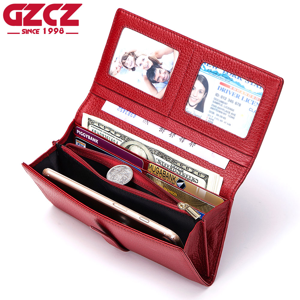 GZCZ Women Wallet Luxury Brand Genuine Leather Long Female Clutch Wallets Capacity Ladies Purse Money Bag Portafoglio Donna gzcz women wallet female long coin purse genuine leather clutch lady wallets luxury brand for money slim bags large capacity