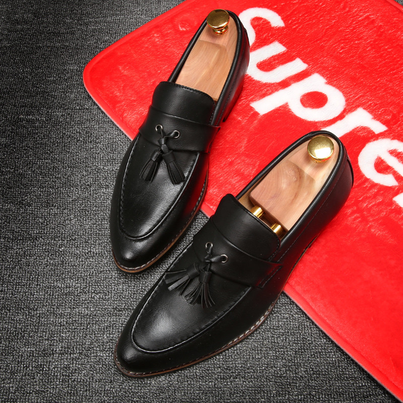 luxury brand mens pointed toe dress shoes famous loafer male gents formal wear ballet flats zapatos hombre oxford shoes for men (21)