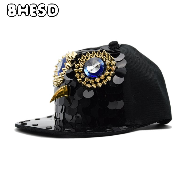 BHESD 2018 Punk Rock Hat Owl Men Hip Hop Snapback Hat Women Eagle Hip-Hop Caps Male Street Style Baseball Cap Gorros Bones JY700 cntang brand summer lace hat cotton baseball cap for women breathable mesh girls snapback hip hop fashion female caps adjustable