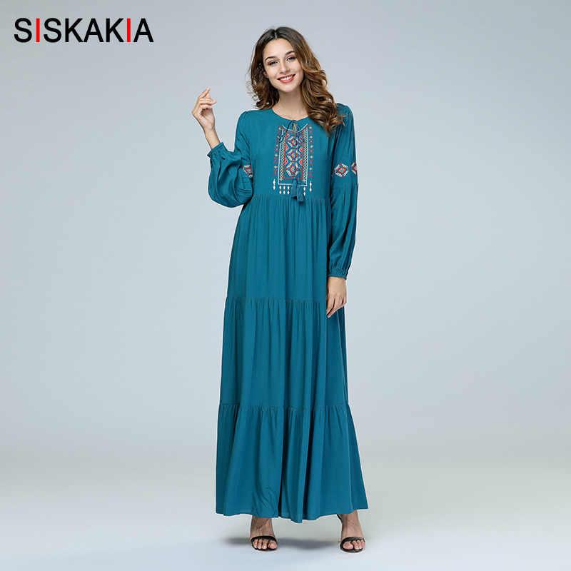 ce028524eaa27 Siskakia Denim Embroidery long Dress for Women Autumn Fall 2018 ...