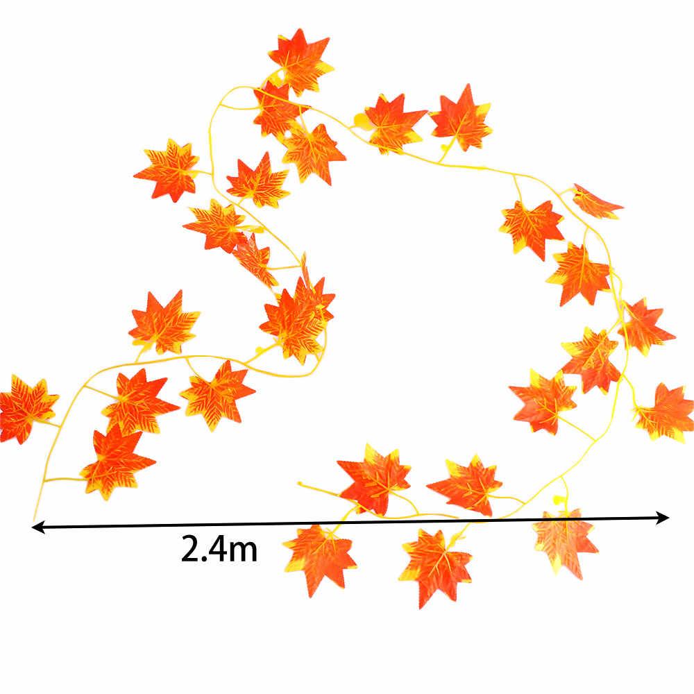 Nuevas llegadas 2,4 m 1 piezas ventana otoño hojas Garland de hoja de arce de vid falsa decoración de jardín de casa