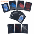 New High Quality Red&Blue Smooth Waterproof Black Plastic Playing Cards Texas Hold'em Poker Baccarat Board Game 63*88mm qenueson