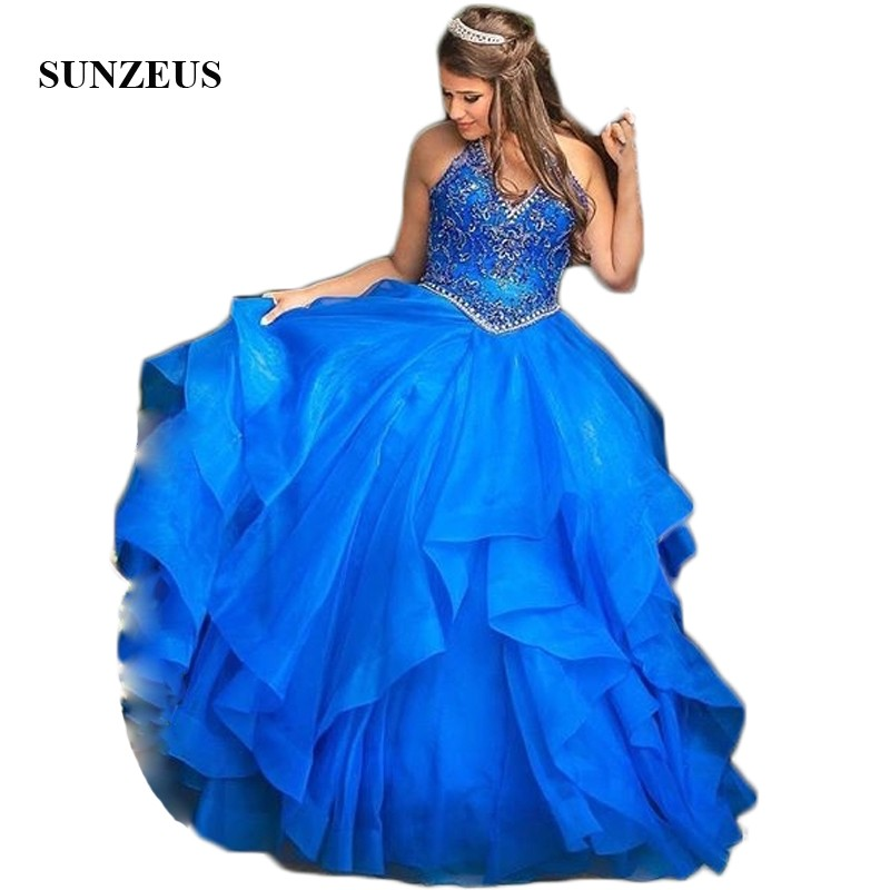 Halter V Front Sweet 16 Dresses Dazzling Beaded Sequins Ball Gown Quinceanera Dresses 2019 vestido para 15 anos SQ02
