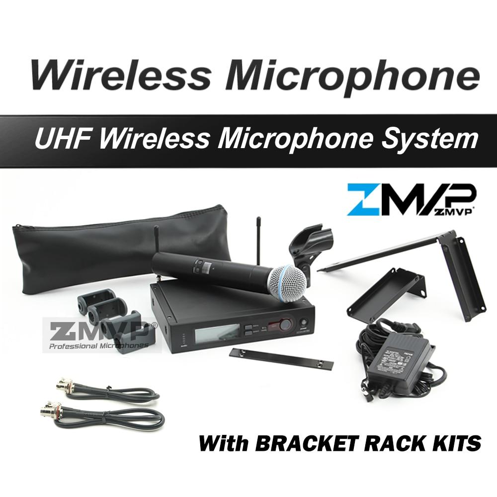 ZMVP SLX24 BETA58 Professional UHF Handheld Karaoke SLX Wireless Microphone System with Bracket Rack Kits 2-Band 740~820Mhz free shipping by dhl fedex ems slx24 uhf karaoke wireless microphone system with m58 handheld transmitter mic bracket rack kits