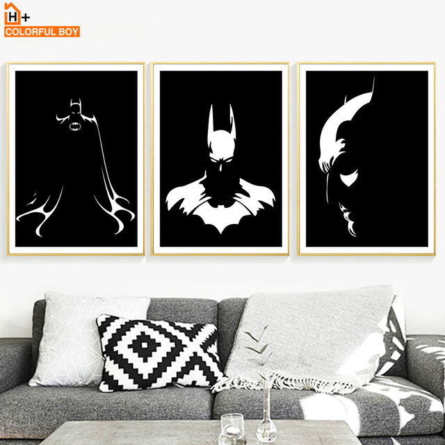 COLORFULBOY Superhero Batman Wall Art Print Canvas Painting Nordic Movie  Poster Black White Wall Pictures For