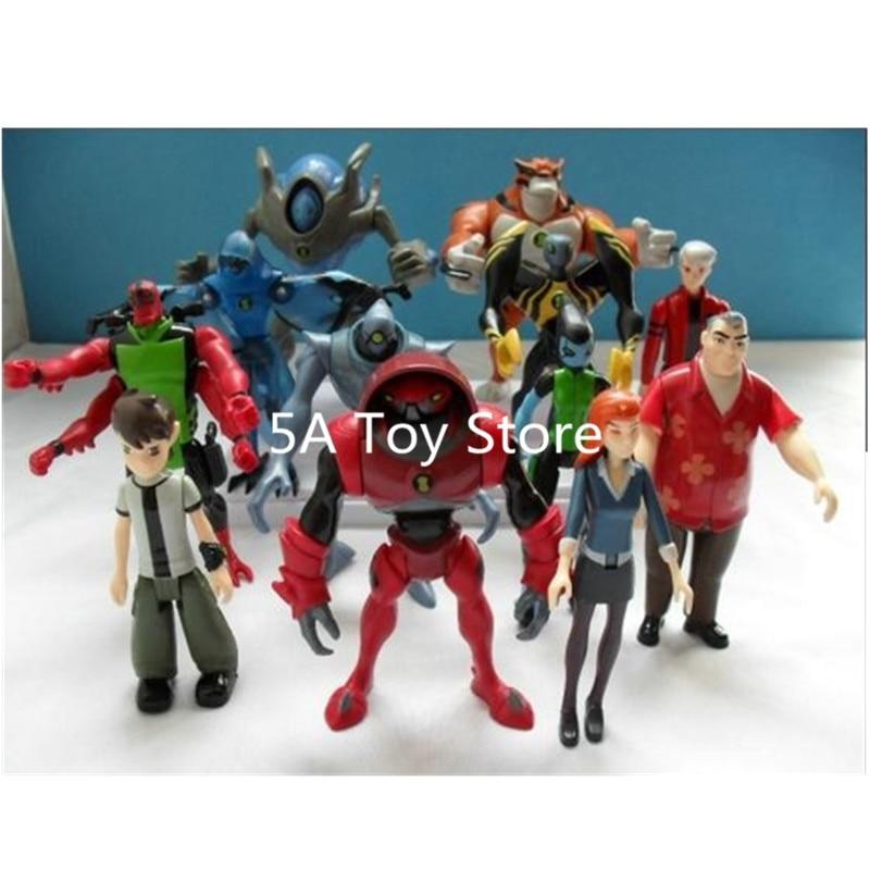 12Pcs/set Anime Ben 10 Gwen Tennyson Grandpa Four Arms Widmult Alien PVC Action Figure Collection Model Toys