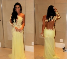 Oscar Yellow Mermaid Lace Long Sleeve Prom Dresses Sheer Chiffon Evening Gowns Celebrity Red Carpet robe de soriee