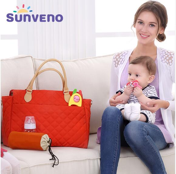 SUNVENO New Brand Diaper Bag For Mamy Argyle Checked Quilted Women Mummy Fashion Baby Nappy Bag Tote Multicolor fashion women s tote bag with rivets and checked design