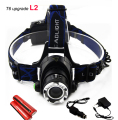 cree XM L2 led headlamp frontal head flashlight torch powerful headlight head light lamp +18650 battery +AC charger +car charger