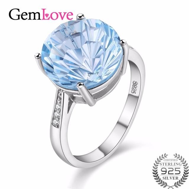 Gemlove 6 5ct Blue Topaz Natural Gemstone Ring 925 Sterling Silver Costume Jewelry Engagement Rings For