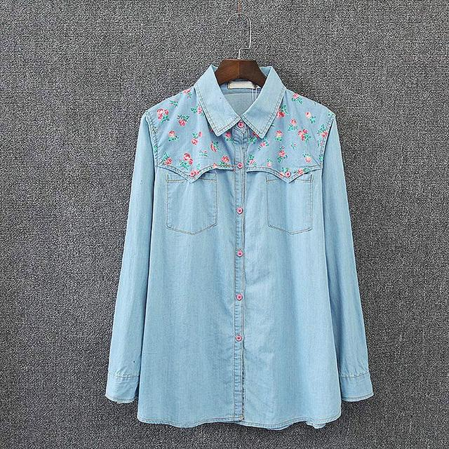 41718136dfe S6 Spring Casual Women Denim Shirt 3XL Plus Size Clothes Tops Fashion Floral  prints Two pockets Loose Long Sleeve Blouse 7008