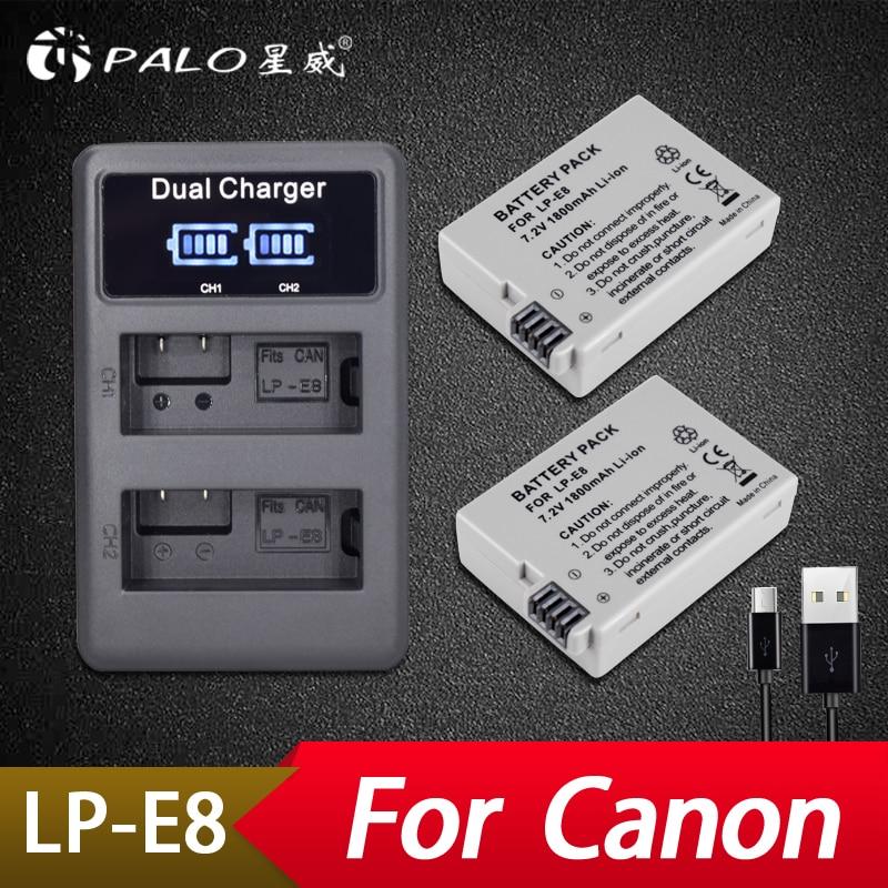 2 Pcs 1800 Mah Lp-e8 Lpe8 Lp E8 Batterie Batterie Akku Unterhaltungselektronik Lcd Dual Ladegerät Für Canon Eos 550d 600d 650d 700d X4 X5 X6i X7i T2i T3i