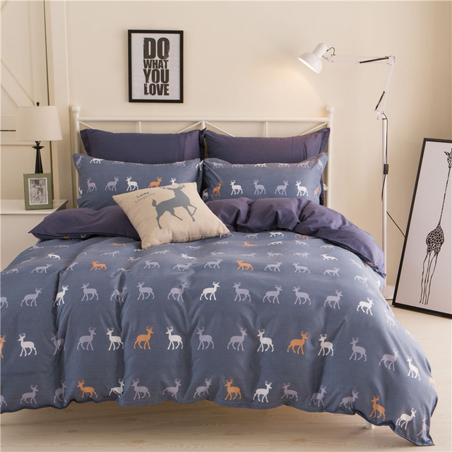 JU Home Textiles 100%Cotton Simple Bohemian Style 3/4pcs Bedding Sets Bed Linen Include Duvet Cover Bed Sheet Pillowcase