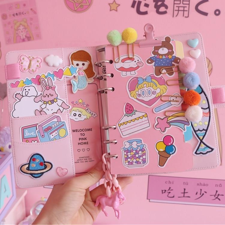 1pc Cute Creative Cartoon DIY Note Book Sweety Girl Travel Diary Plan Notebook Loose-leaf Notebook A6