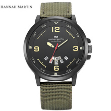 2047 Hannah Martin Luxury Brand Military Watch Men Quartz Analog Clock Leather Canvas Watch Man Sports Watches Army montre femme hannah martin sports leisure men sports quartz belt wrist watch