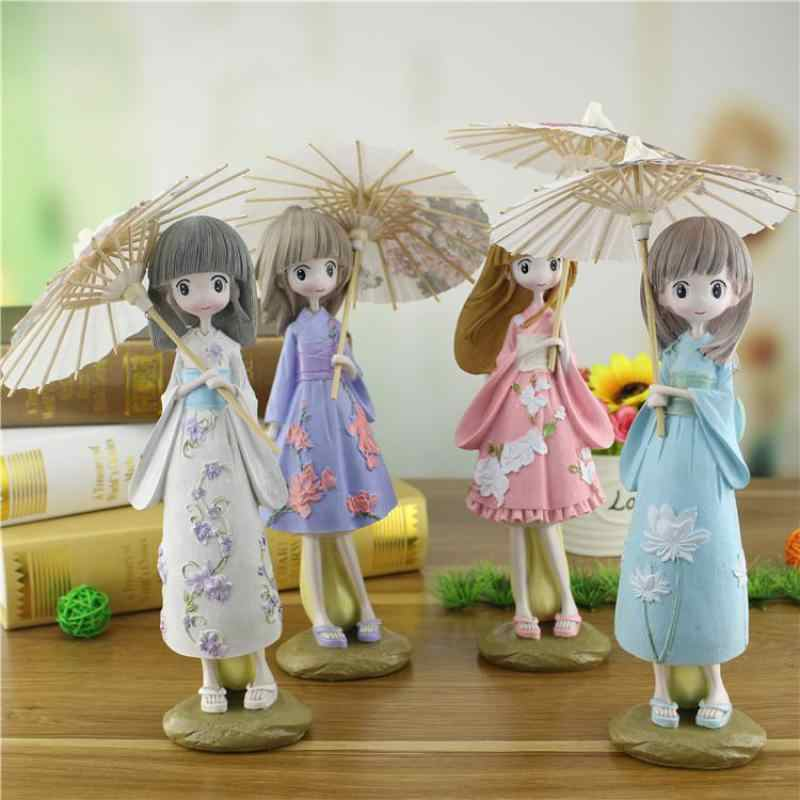 25.5cm Large Japanese kimono girl Umbrella Creative Figurines Miniature Figurines Home Decor for Girl Student Gift Resin Crafts