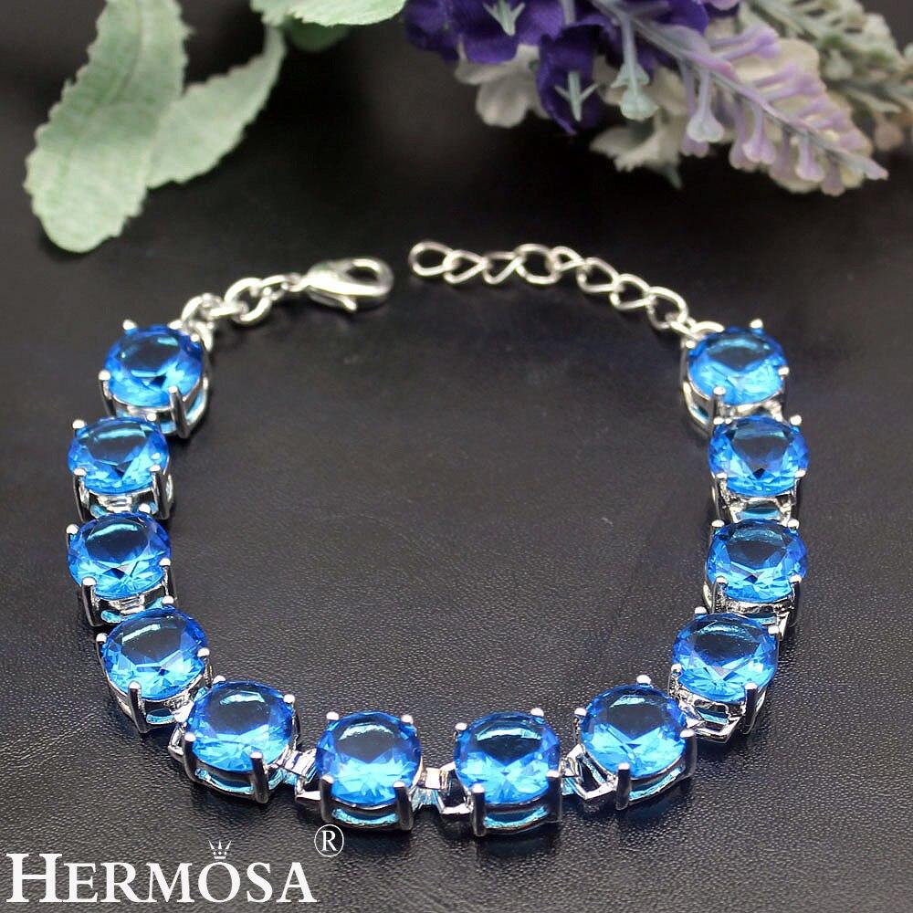 HERMOSA Jewelry Classic round natural blue topaz925 sterling silver Fashion Shiny bracelet 7-8.5'' HF1798