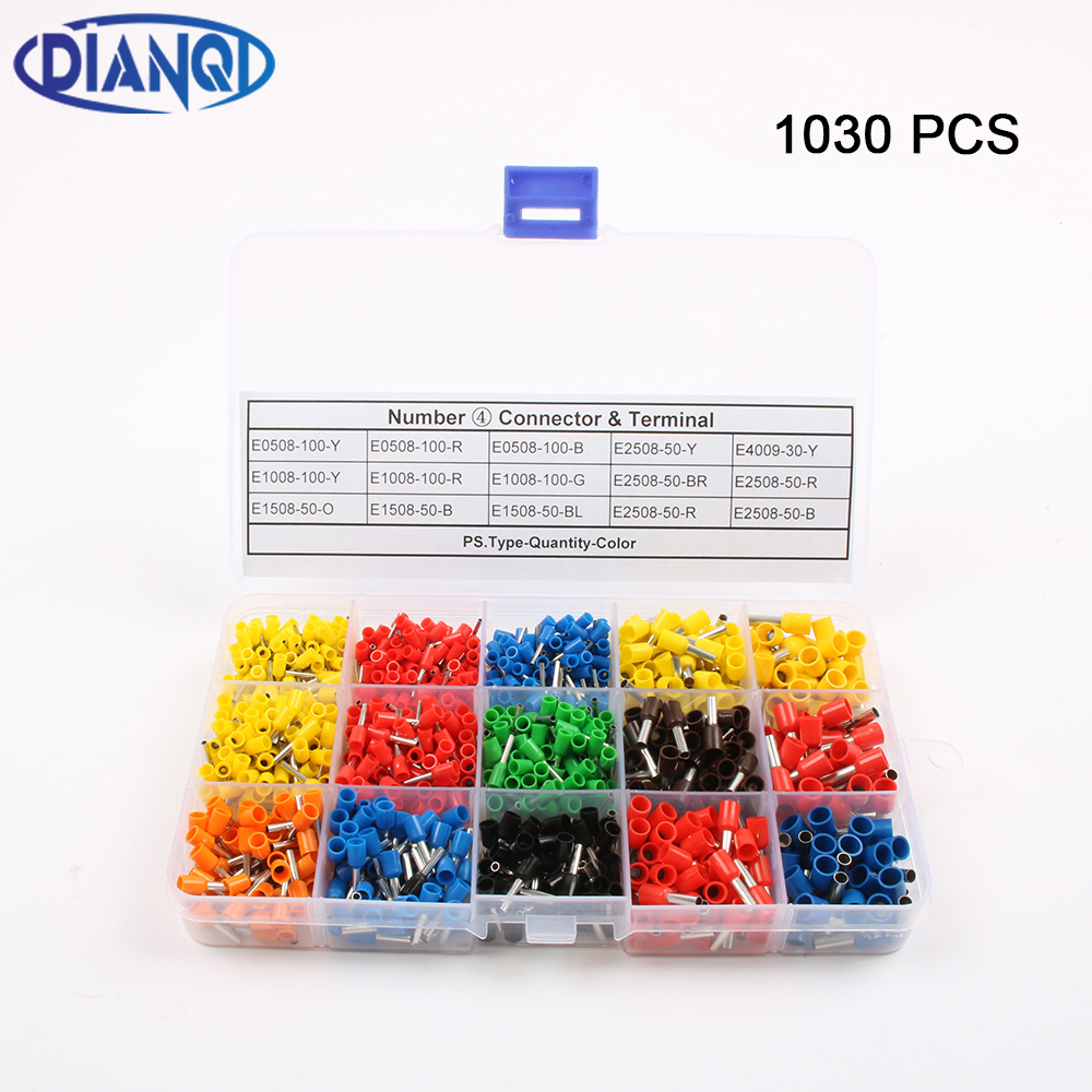 1030Pcs/Set 22-12AWG Wire Copper Crimp Connector Insulated Insulated Cord End Cable Wire Terminal Kit DIY brass DIANQI 600 pcs copper wire crimp tube connector spade insulated cord end cable wire terminal kit diy hand tool set for 22 10awg