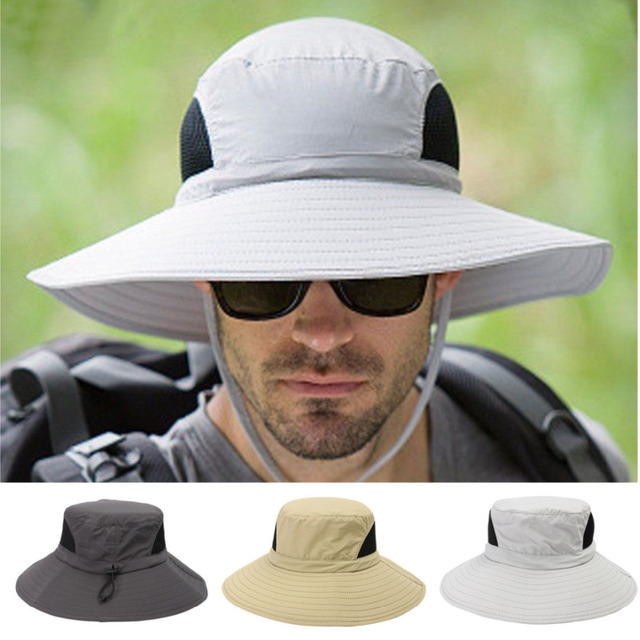 6a145ff7 Wide Brim Bucket Hats Unisex Fishing Outdoors Mountaineering Camping Hat  Sun UV Protection Man Women Caps Breathable Summer 2018