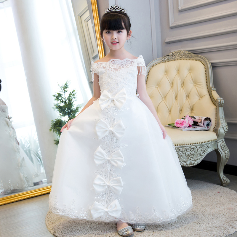 2017 New High Quality Girls Children White Color Princess Dress Kids Baby Birthday Wedding Party Lace Dress With Bow-Knot Design new high quality children girls red color shoulderless princess dress kids birthday wedding party mesh dress school player dress