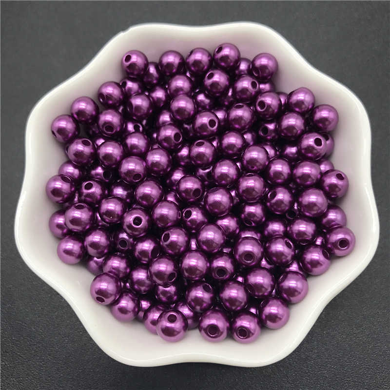 4mm 6mm 8mm 10mm Purple Imitation Pearls Acrylic Beads Round Pearl Spacer Loose Beads For Jewelry Making