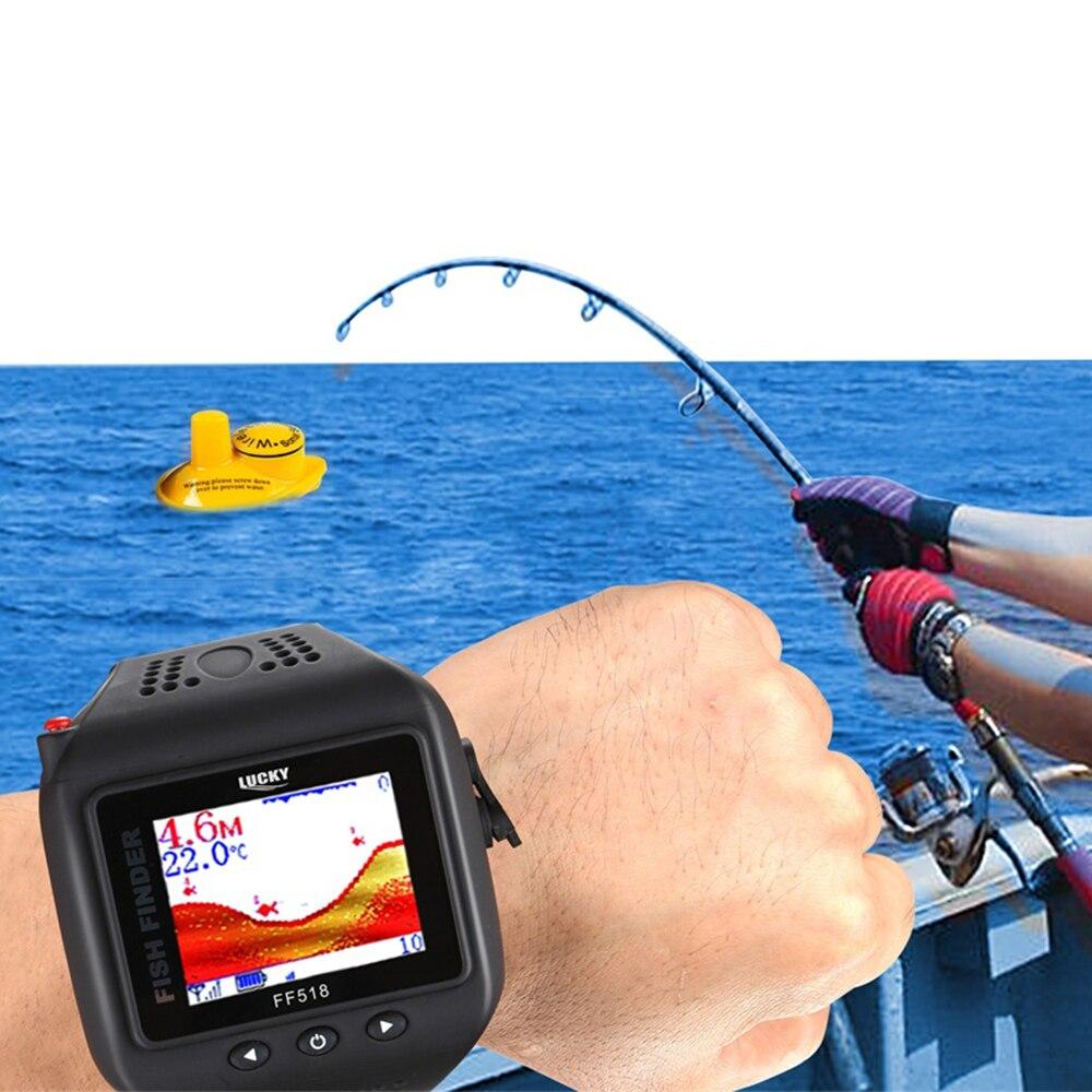 Sonar portatif chanceux Sonar sans fil Sonar Type de montre sondeur de pêche écho Portable sondeur avec 45 m de profondeur 90 degrés Sonar