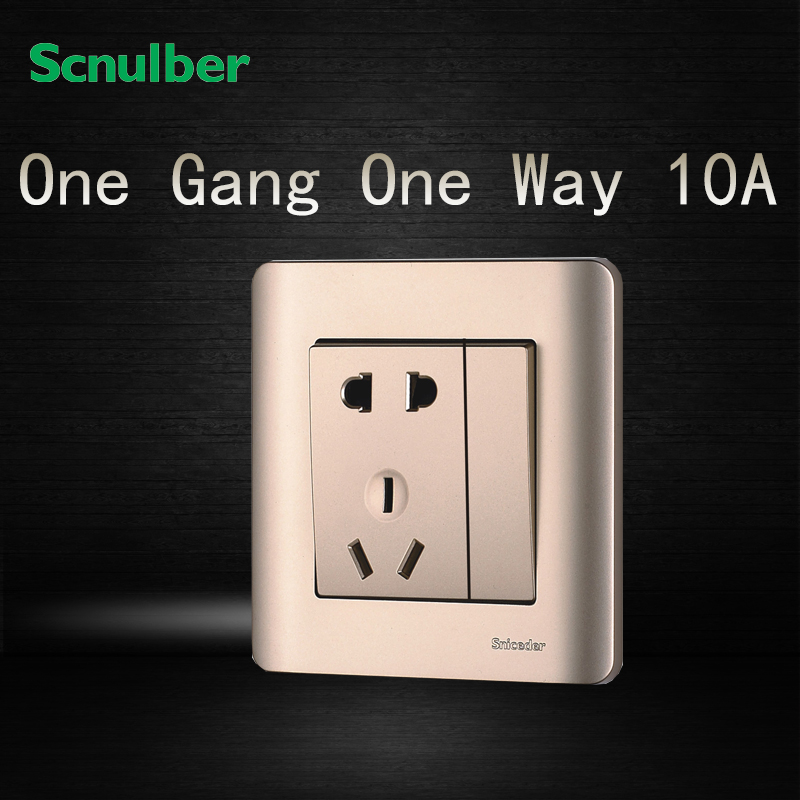 16a 220v Champagne 1 Way 1 Gang Wall Switch Switched