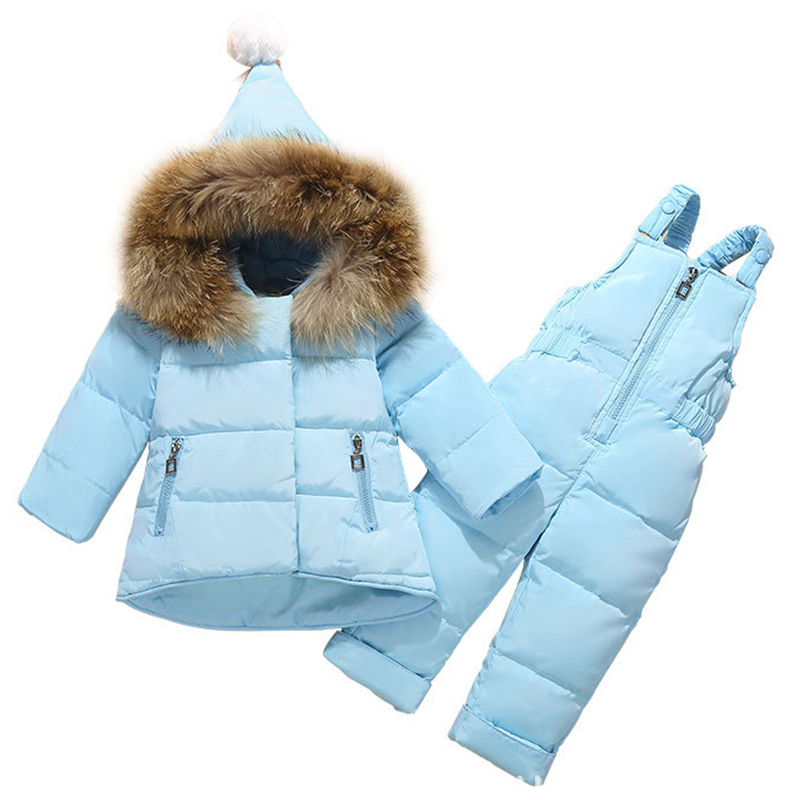 Baby Girls Winter Down Jacket Set Fur Collar Hooded Coat+Strap Trousers 2pcs Toddler Boy Clothes Set Casual Outfit Kid Tracksuit one set leather welding strap trousers