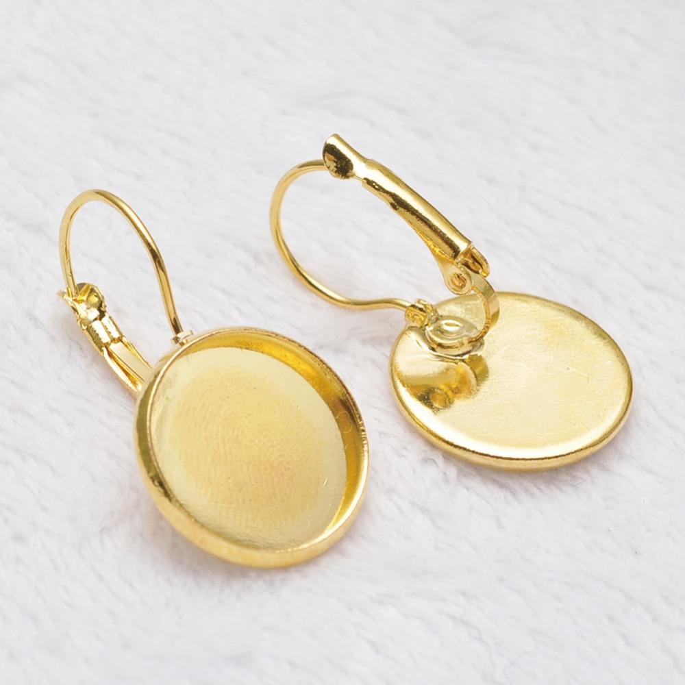 Wholesale 12mm Glass Cabochons French Lever Back Earrings Blanks Earring  Bezels Base Setting For Diy Earring