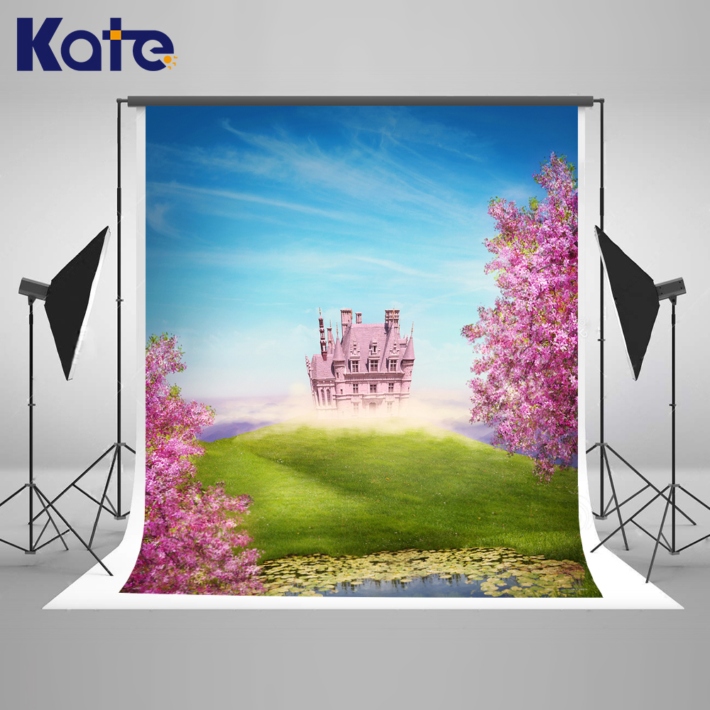 Kate Castle Photography Background 10x10ft Pink Flower Grassland Backgrounds For Photo Studio Cartoon Blue Sky Photo Background kate 300x600cm photography background castle photography baby backdrops castle creek cartoon background newborn photograph