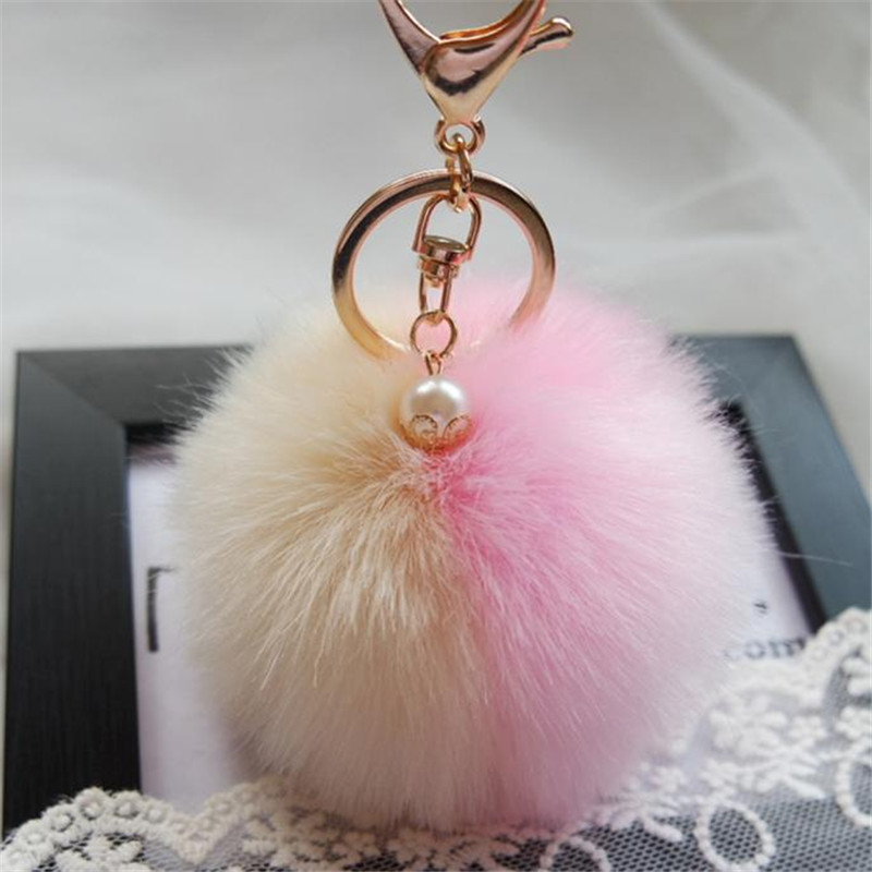 jinggton oval     Rabbit Fur Ball Keychain Bag Plush Car Key Ring Car Key Pendant