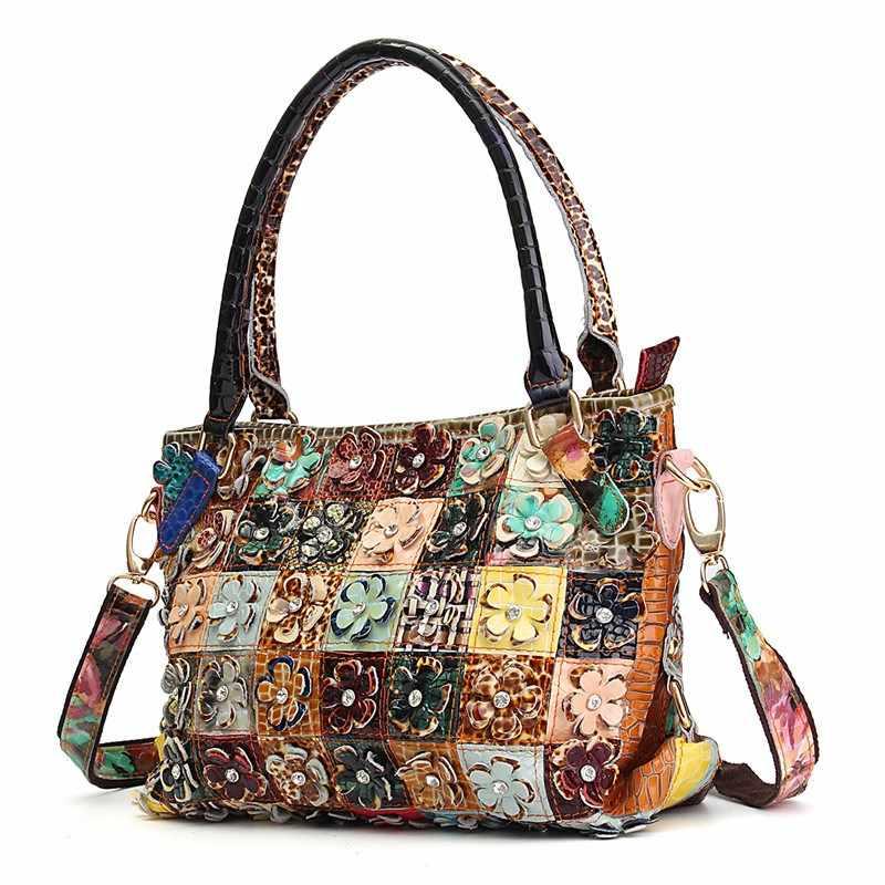 a49b85afbb20 ... AEQUEEN Women Handbags Vintage Shoulder Bags Genuine Leather Diamond 3D  Flower Patchwork Crossbody Messenger Bags Random ...