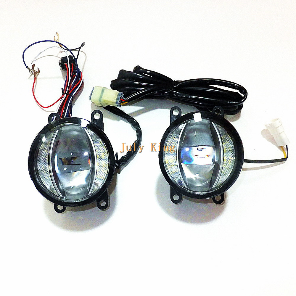July King 1600LM 24W 6000K LED Fog Lamp +1000LM 14W DRL Case for Ford Focus Suzuki Opel Citroen Renault Acura Mitsubishi etc багажник на крышу атлант daewoo nexia ford sierra ford fiesta opel corsa opel kadett opel astra mitsubishi carisma mitsubishi colt mitsubishi galant дуга 20х30 сталь 8923