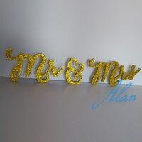 Gold glitter Mr and Mrs Wedding Sign Wedding table Sign Glitter Sign, Freestanding mr mrs swttheart table decor