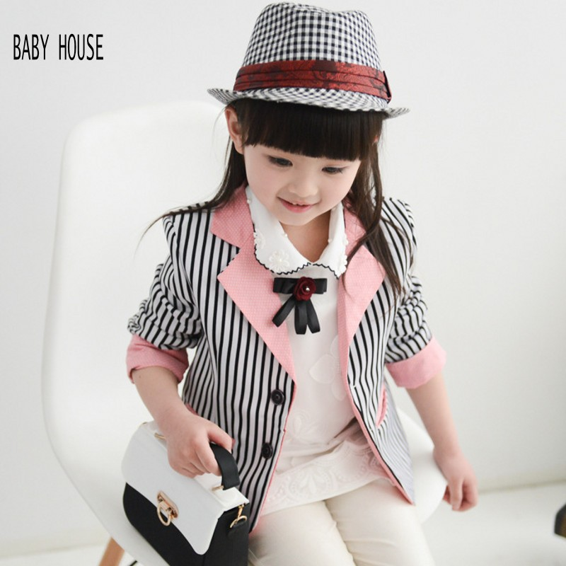 New Autumn Spring Striped  Girls Blazer Jacket Fashion Kids Blazers Girls Brand High Quality Coat For Girl B200 girl