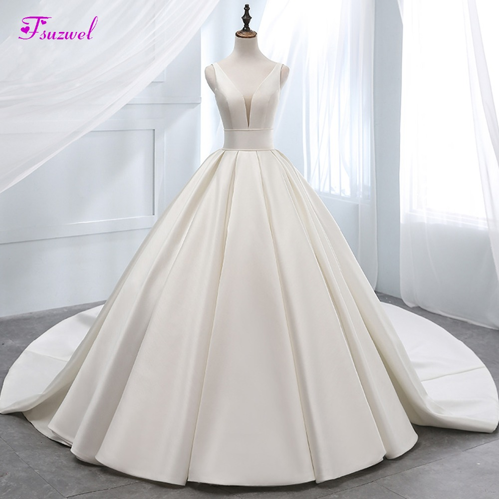 Fsuzwel New Arrival Sexy V neck Lace Up A Line Wedding Dress 2019 Gorgeous Chapel Train