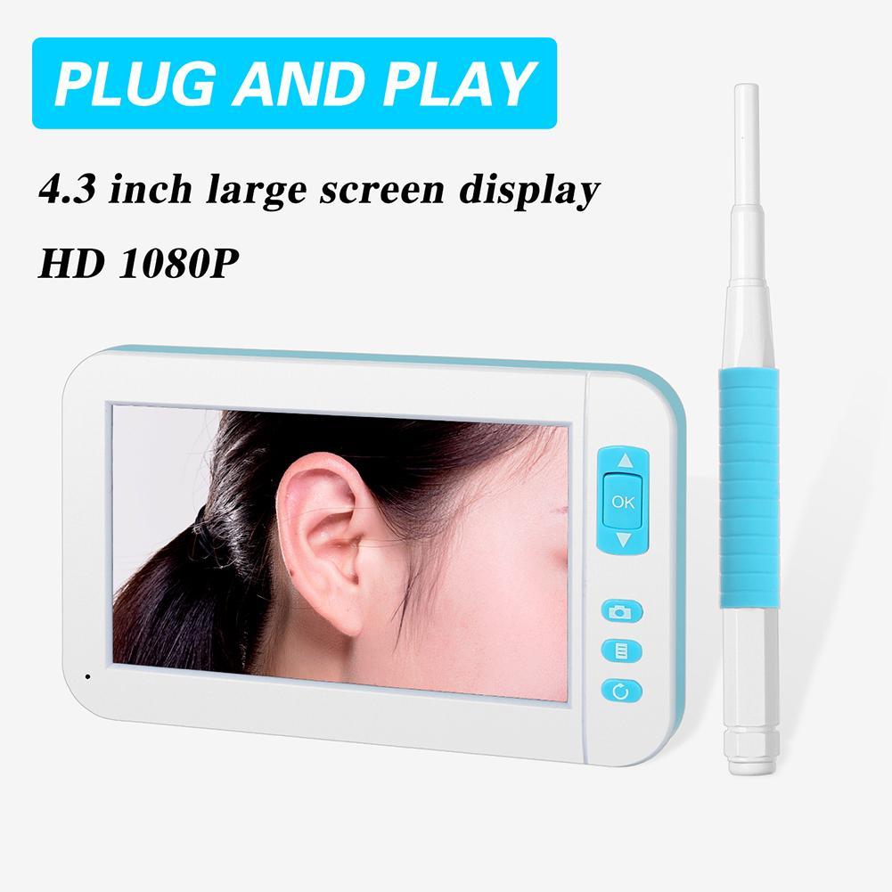 P20 oreille choisir Endoscope 3.9 MM diamètre Otoscope visuel 4.3 pouces haute définition affichage Inspection caméra 1080 P 6 LED luminosité - 4