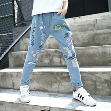 New Style Kids Jeans Boys Girls Trousers Autumn Fashion Designer Children Denim Pants Casual Ripped Jeans For 6~14 Year