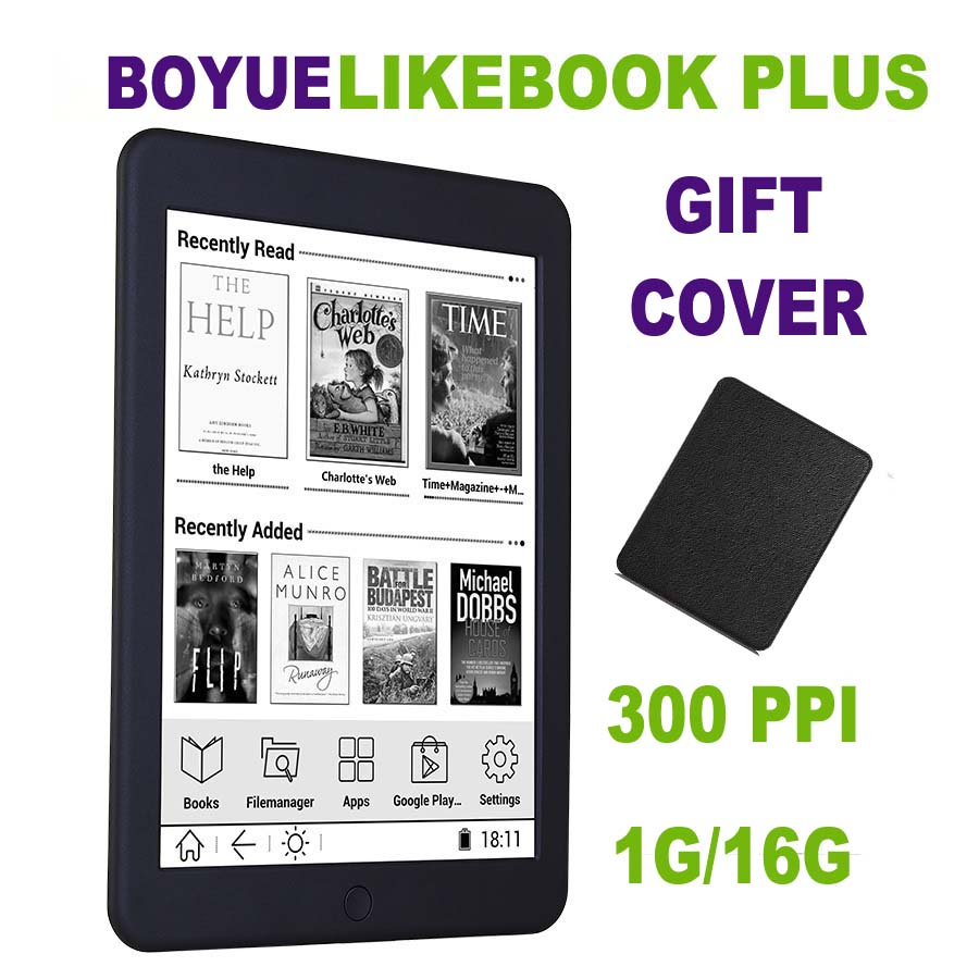 BOYUE Likebook Plus ebook reader 7.8 inch Carta Screen 300PPI 1G/16G Touch ANDROID Bluetooth Backlight ebook ereader eink + Case
