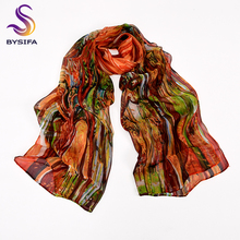 BYSIFA Chiffon Silk Scarf Shawl Ladies Fashion Brand Blue Lotus Long Scarves Wraps 180*68cm Summer Women Beach Cover-Ups Cape